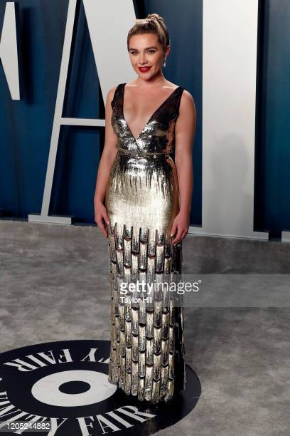 Florence Pugh attends the Vanity Fair Oscar Party at Wallis Annenberg Center for the Performing Arts on February 09, 2020 in Beverly Hills,...