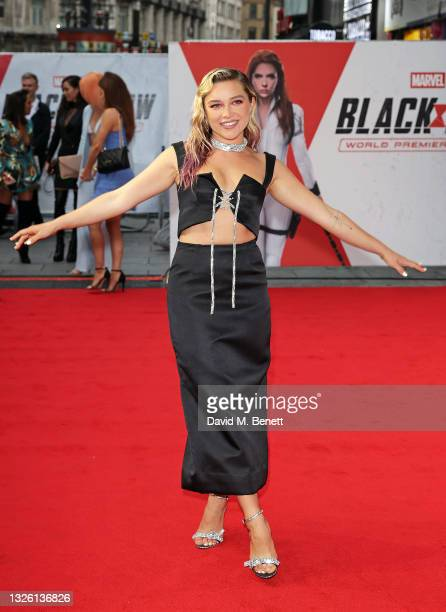 """Florence Pugh attends the World Premiere fan even for Marvel Studios' """"Black Widow"""" at Cineworld Leicester Square on June 29, 2021 in London, England."""