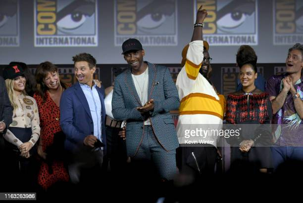 Florence Pugh Cate Shortland Jeremy Renner Mahershala Ali Brian Tyree Henry Tessa Thompson and Taika Waititi speak at the Marvel Studios Panel during...
