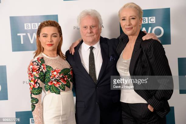 """Florence Pugh, director Richard Eyre and Emma Thompson attend a screening of """"King Lear"""" at Soho Hotel on March 28, 2018 in London, England."""