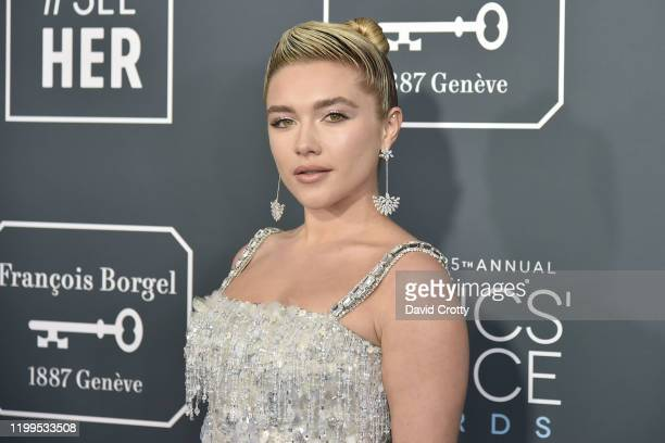 Florence Pugh during the arrivals for the 25th Annual Critics' Choice Awards at Barker Hangar on January 12, 2020 in Santa Monica, CA.