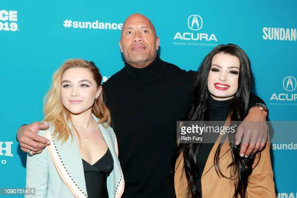 Florence Pugh Dwayne Johnson and Paige attend the surprise screening of Fighting With My Family during the 2019 Sundance Film Festival at The Ray on...