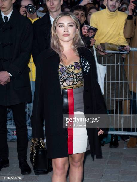 Florence Pugh is seen during Paris Fashion Week Womenswear Fall/Winter 2020/2021 on March 03, 2020 in Paris, France.