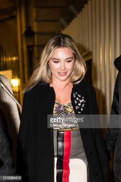 Florence Pugh is seen outside the Vuitton show, during Paris Fashion Week Womenswear Fall/Winter 2020/2021, on March 03, 2020 in Paris, France.