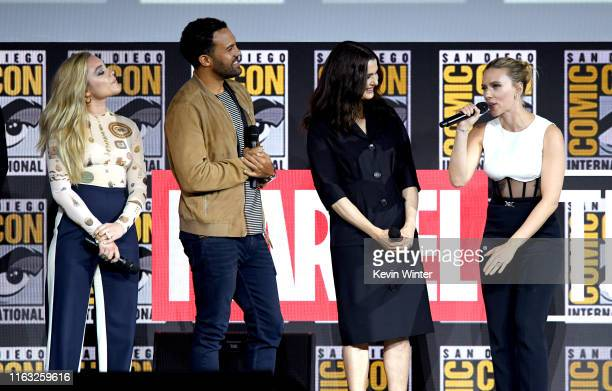 Florence Pugh O T Fagbenle Rachel Weisz and Scarlett Johanssonn speak at the Marvel Studios Panel during 2019 ComicCon International at San Diego...