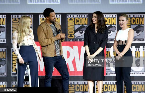 Florence Pugh, O. T. Fagbenle, Rachel Weisz and Scarlett Johanssonn speak at the Marvel Studios Panel during 2019 Comic-Con International at San...