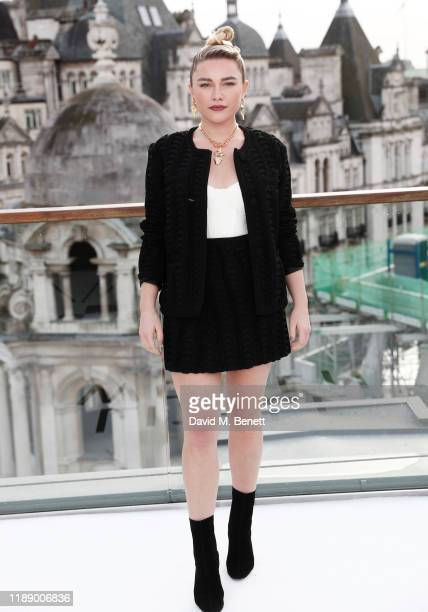 """Florence Pugh poses at a morning photocall for """"Little Women"""" at the Corinthia Hotel London on December 16, 2019 in London, England."""