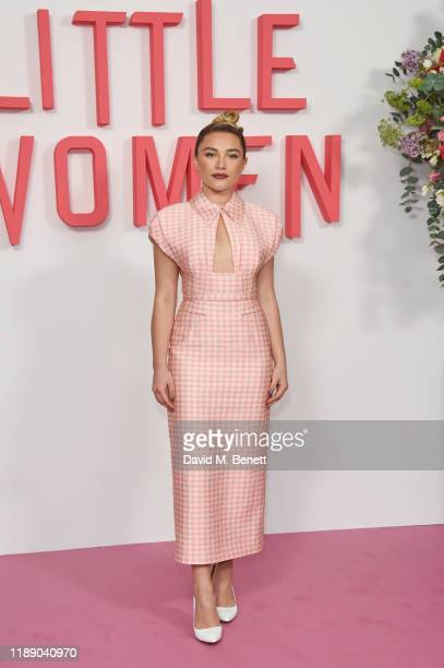 Florence Pugh poses at the evening photocall for Little Women at The Soho Hotel London on December 16 2019 in London England