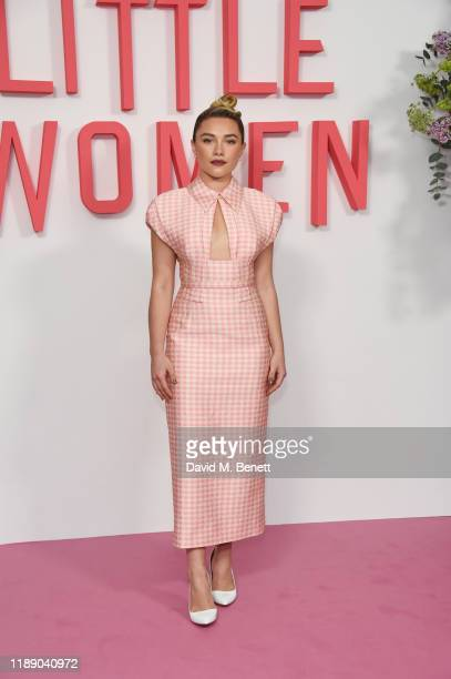 "Florence Pugh poses at the evening photocall for ""Little Women"" at The Soho Hotel London on December 16, 2019 in London, England."