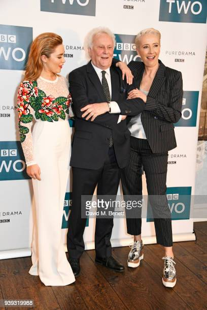 """Florence Pugh, Sir Richard Eyre and Emma Thompson attend a special screening of new BBC Two drama """"King Lear"""" at The Soho Hotel on March 28, 2018 in..."""