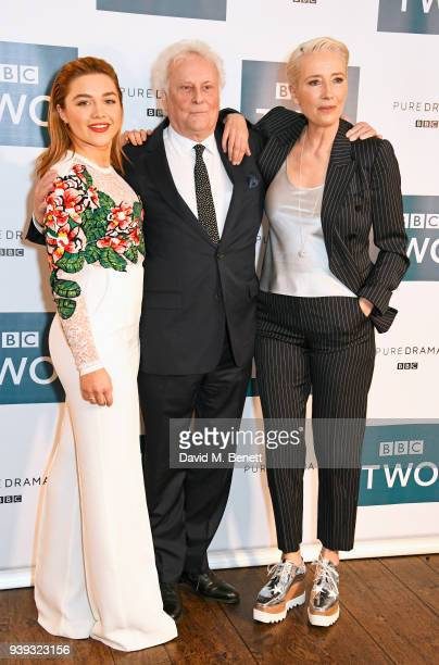 Florence Pugh Sir Richard Eyre and Emma Thompson attend a special screening of new BBC Two drama King Lear at The Soho Hotel on March 28 2018 in...