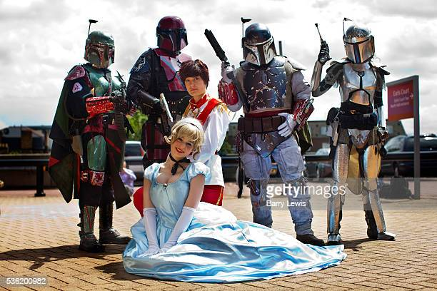 Florence RoseberryHaynes with Olivia Braddock with Mandalorian Mercs attending the London Film and Comic Con LFCC is a convention held annually in...