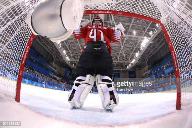 Florence Schelling of Switzerland celebrates after defeating Japan 10 during the Women's Ice Hockey Classification game on day eleven of the...