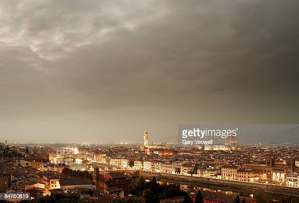 florence skyline at dusk - yeowell stock photos and pictures