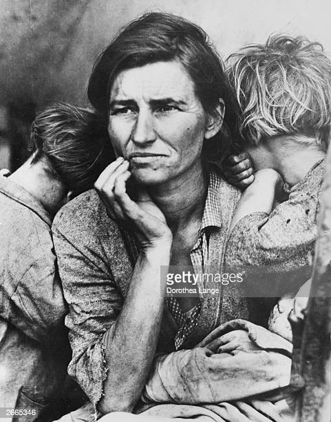 Florence Thompson a migrant mother with three of her seven children at a farm workers' camp in Nipomo California