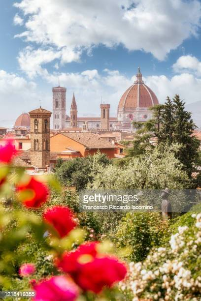 florence, tuscany, italy. flowers in foreground in springtime - dôme photos et images de collection