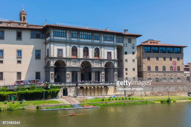 Florence Tuscany Italy Uffizi gallery seen across the Arno river To the right is the Museo Galileo