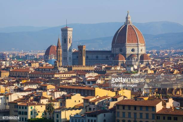 Florence Tuscany Italy View over the city to the Duomo Cattedrale di Santa Maria del Fiore and Campanile from the Piazzale Michelangelo