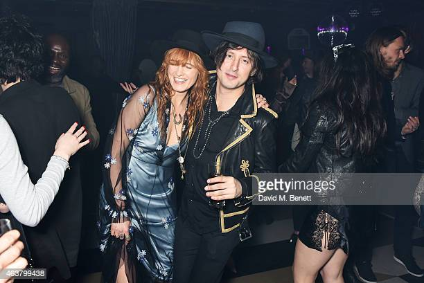 Florence Welch and Carl Barat attend the NME Awards after party at Cuckoo Club on February 18 2015 in London England
