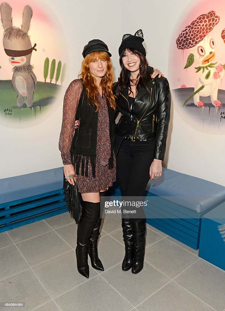 Florence Welch (L) and Daisy Lowe attend the Coach X Serpentine The Future Contemporaries Party at The Serpentine Sackler Gallery on February 21, 2015 in London, England.