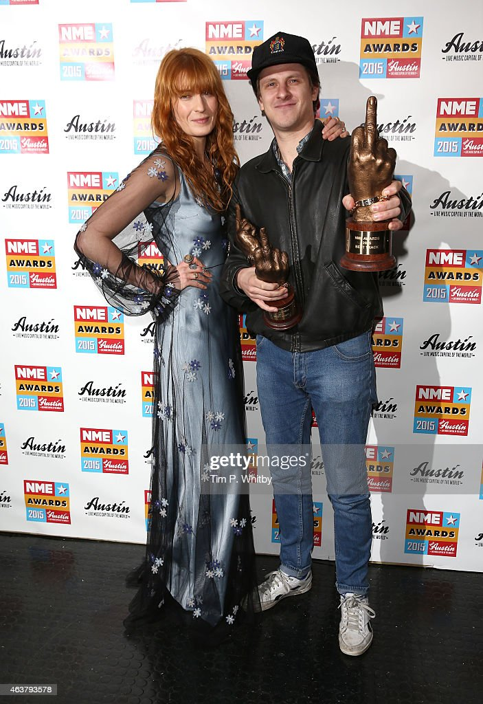 Florence Welch and Jamie T pose in the winner's room at the NME Awards at Brixton Academy on February 18, 2015 in London, England.