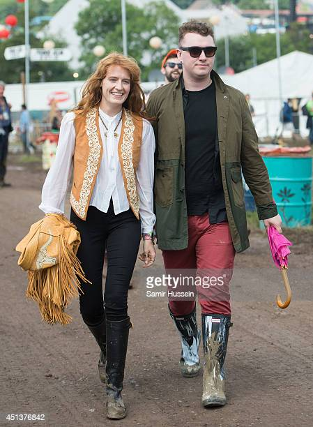 Florence Welch and Sam Smith attend the Glastonbury Festival at Worthy Farm on June 28 2014 in Glastonbury England