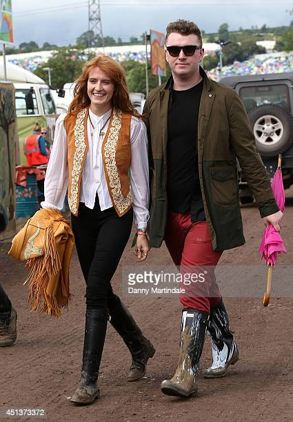 Florence Welch and Sam Smith attends the Glastonbury Festival at Worthy Farm on June 28, 2014 in Glastonbury, England.