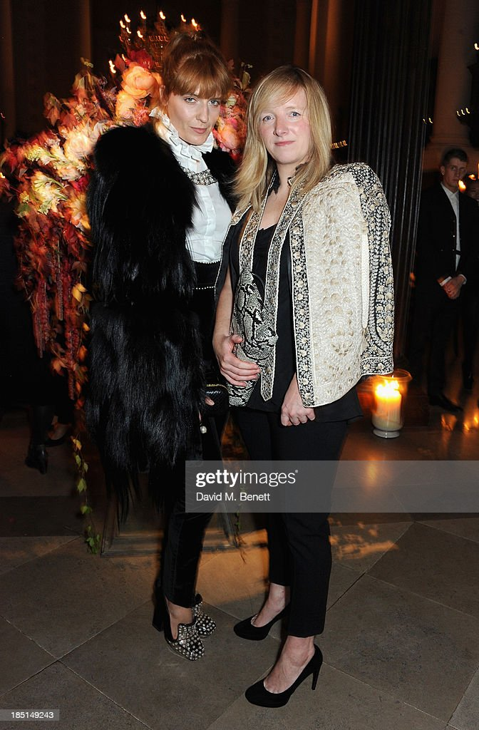 Florence Welch and Sarah Burton attend the Alexander McQueen and Frieze Dinner to celebrate the Frieze Art Fair 2013 on October 17, 2013 in London, England.
