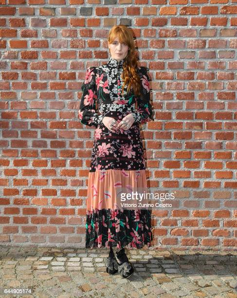 Florence Welch arrives at the Gucciy show during Milan Fashion Week Fall/Winter 2017/18 on February 22 2017 in Milan Italy