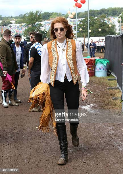 Florence Welch attends the Glastonbury Festival at Worthy Farm on June 28 2014 in Glastonbury England