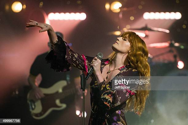 Florence Welch from Florence and the Machine during a live broadcast of TFI Friday on December 4 2015 in London England