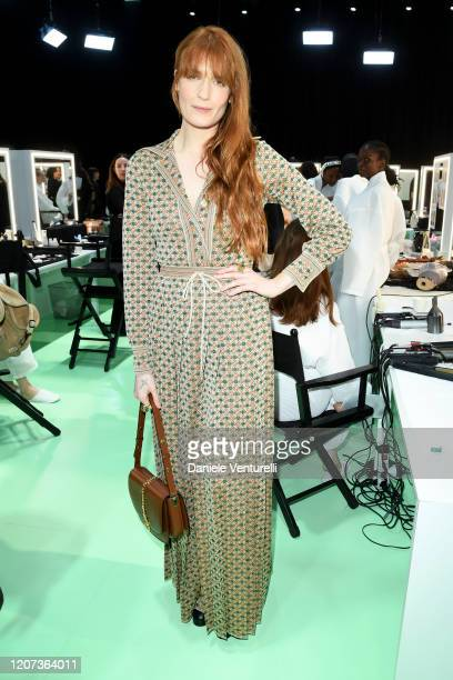 Florence Welch is seen backstage at the Gucci Backstage during Milan Fashion Week Fall/Winter 2020/21 on February 19 2020 in Milan Italy