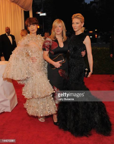 Florence Welch of Florence and The Machine designer Sarah Burton and actress Cate Blanchett attend the Schiaparelli And Prada Impossible...