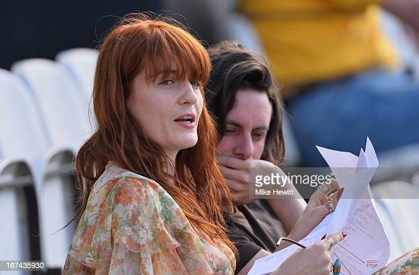 Florence Welch of Florence and the Machine fame watches the cricket during day two of the LV County Championship Division One match between Surrey...
