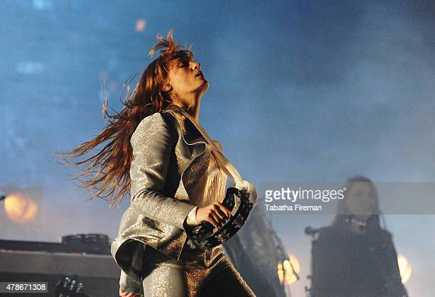 Florence Welch of Florence And The Machine headlnes the Pyramid stage at the Glastonbury Festival at Worthy Farm Pilton on June 26 2015 in...