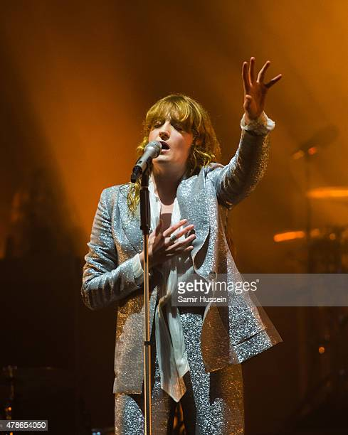 Florence Welch of Florence and the Machine performs as the band headline the Pyramid Stage at the Glastonbury Festival at Worthy Farm, Pilton on June...
