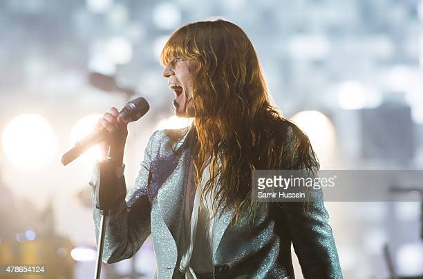 Florence Welch of Florence and the Machine performs as the band headline the Pyramid Stage at the Glastonbury Festival at Worthy Farm Pilton on June...