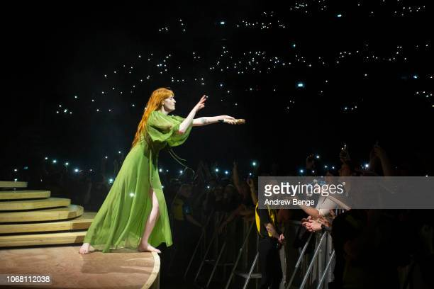 Florence Welch of Florence And The Machine performs at First Direct Arena Leeds on November 15 2018 in Leeds England