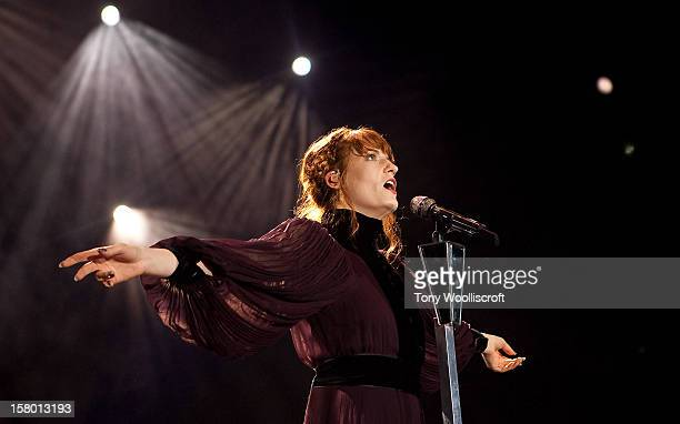 Florence Welch of Florence and the Machine performs at Ricoh Arena on December 8 2012 in Coventry England