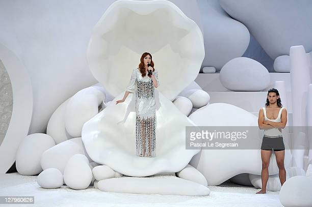 Florence Welch of Florence and the Machine performs during the Chanel Ready to Wear Spring / Summer 2012 show during Paris Fashion Week at Grand...