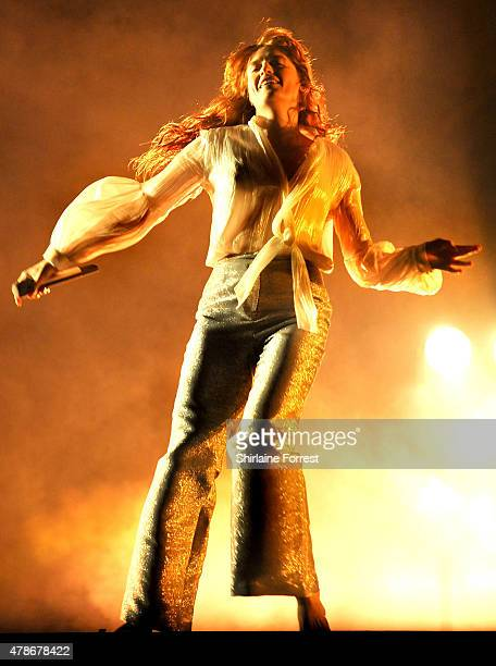 Florence Welch of Florence And The Machine performs headlining the Pyramid Stage at the Glastonbury Festival at Worthy Farm Pilton on June 26 2015 in...