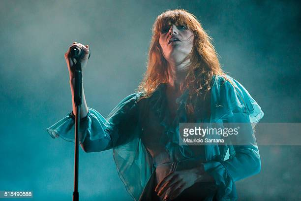 Florence Welch of Florence and the Machine performs live on stage at Autodromo de Interlagos on March 13, 2016 in Sao Paulo, Brazil.