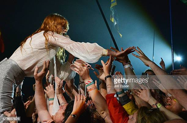 Florence Welch of Florence And The Machine performs live on the Pyramid stage during the first day of the Glastonbury Festival at Worthy Farm, Pilton...