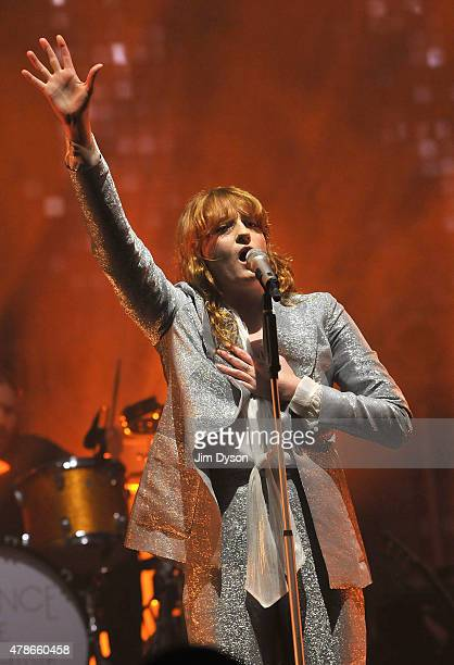 Florence Welch of Florence And The Machine performs live on the Pyramid stage during the first day of the Glastonbury Festival at Worthy Farm Pilton...