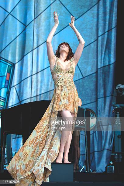 Florence Welch of Florence and the Machine performs on stage during BBC Radio 1 Hackney Weekend at Hackney Marshes on June 24 2012 in Hackney United...