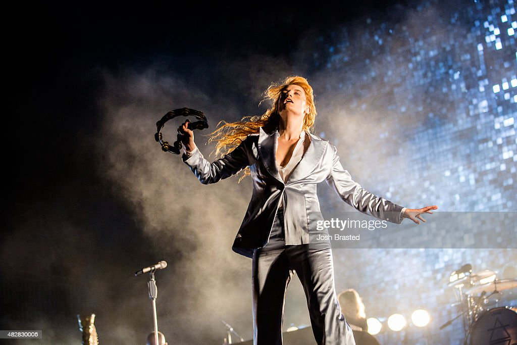 Florence Welch of Florence and the Machine performs on stage during the Lollapalooza music festival at Grant Park on August 2, 2015 in Chicago, Illinois.