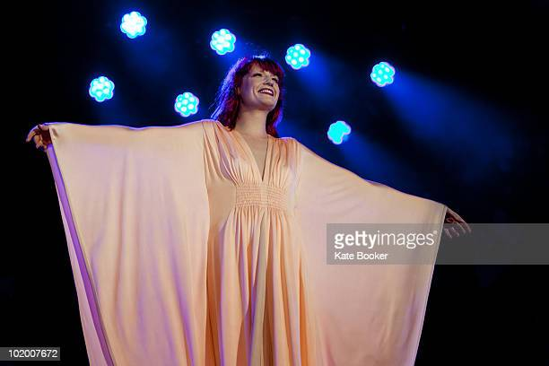 Florence Welch of Florence And The Machine performs on stage on the first day of the Isle Of White Festival at Seaclose Park on June 11 2010 in...