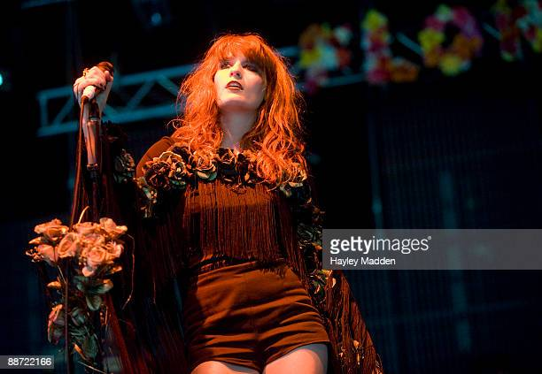Florence Welch of Florence and The Machine performs on The John Peel stage on day 3 of Glastonbury Festival at Worthy Farm on June 27, 2009 in...