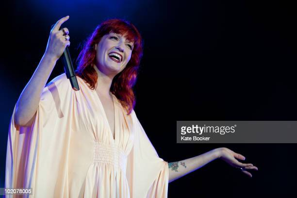 Florence Welch of Florence And The Machine performs on The Main Stage on the first day of the Isle Of White Festival at Seaclose Park on June 11 2010...