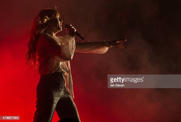 Florence Welch of Florence and the Machine performs on The Pyramid Stage during the Glastonbury Festival at Worthy Farm, Pilton on June 26, 2015 in...
